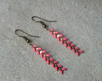 Earrings chains enamel ears fuchsia 1