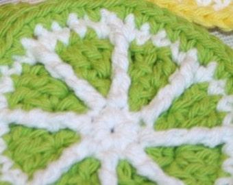 4 Crochet Lime Citrus Slices coaster mini doily