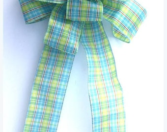 Spring plaid bow for wreaths, party decor, Easter decoration, home decor