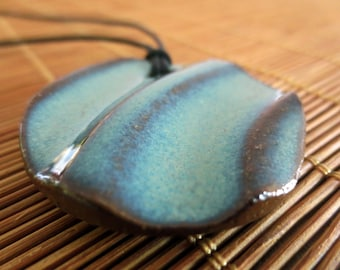 Ocean Waves: Wheel Thrown Clay Adjustable Cord Necklace N614