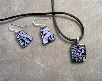 Dichroic Silver Leaves Petite Pendant Set