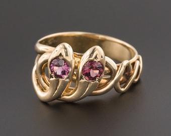Antique Garnet Double Snake Ring | 14k Gold Snake Ring | Garnet Ring | Antique Snake Ring | Garnet Snake Ring