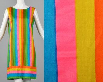 Medium 1960s Deadstock Colorful Stripe Print Dress Sleeveless Shift Dress Casual Lightweight Spring Summer 60s Vintage