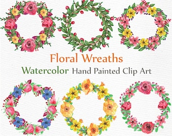 "Watercolor Wreaths Clip art: ""FLORAL WREATHS CLIPART"" Wedding Clip Art Wreaths Clip art Watercolor flowers diy elements wedding invitation"