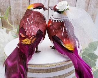 SALE wedding wonderful large burgundy red shades ombre love birds wedding cake topper fall wedding