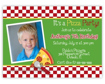 Pizza Party Birthday Invitation With Picture or Without (You Print)