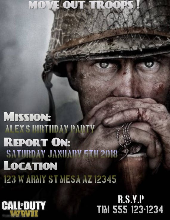 Call of duty ww2 birthday invitations filmwisefo Image collections