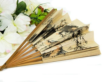 1918 Antique Hand Painted Japanese Paper Party Fan