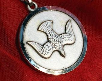 Peace Dove Vintage Italy Signed Necklace Easter Pendant 70s Unique Medal Charm Unisex Spiritual Catholic Christian Love Joy Jesus