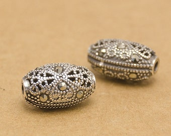 925 sterling silver marcasite oval beads, antique silver ethnic beads, marcasite beads bracelet diy, marcasite with silver