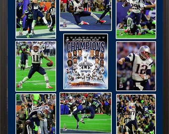 30x34 9 Photo Collage - New England Patriots Super Bowl XLIX Champions