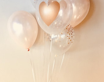 """Gold Heart Balloons, 11"""" Pkg 6, 12, Blush, Clear Latex with Gold Heart, latex, bridal shower, love decoration, wedding, bachelorette"""