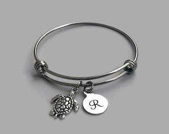 Sea Turtle Bangle, Sea Turtle Charm Bracelet, Sea Turtle Bracelet, Beach Bracelet, Beach Charm, Beach Bangle, Turtle Charm Bracelet