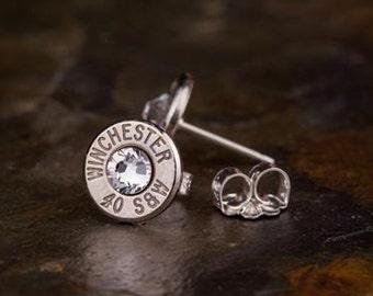 Bullet Stud Earrings, Winchester 40 Caliber STERLING Silver Bullet Stud Earrings, Bullet Earrings, Custom Earrings, 40 Cal Earrings