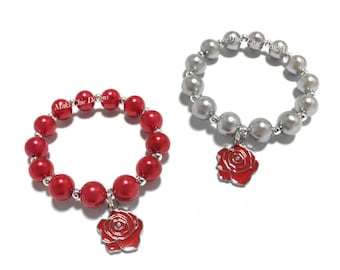 Toddler or Girls Small Beaded Red Rose Charm Bracelet - Red and Silver Bracelet - Red Flower Bracelet - Floral Bracelet - Valentines Day