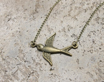 Swallow Necklace // Bird Necklace // Woodland Necklace // Flying Necklace // Antique Brass Necklace