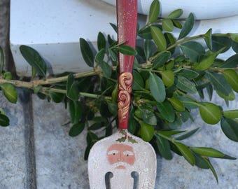 Santa servieren Gabel Ornament/gemalt Santa Gabel/Vintage Besteck/Santa Ornament