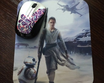 Star Wars The Force Awakens, Rey, BB-8 & Tie Fighter Mousepad