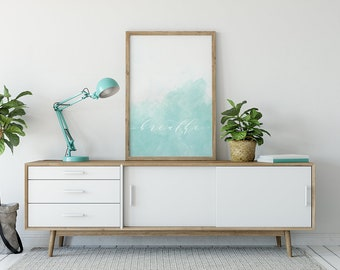 "Watercolor | Ombre | Blue | ""Breathe"""