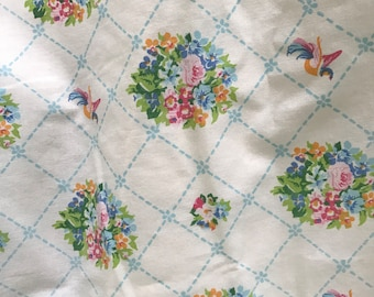 Vintage shabby cottage fitted sheet with lattice and flowers 1950's