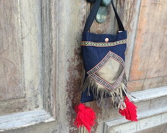 boho festival bag / boho with tassel bag / fringe bag / gypsy festival bag/ bohemian hip bag/ cross body boho bag/ boho festival bag