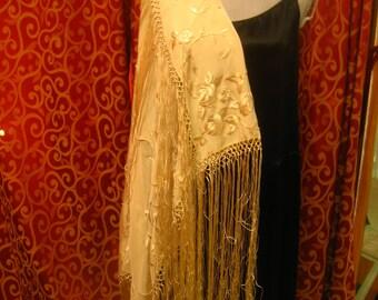 "1920', 40""x40"", embroidered silk ecru white  shawl with macrame edge"
