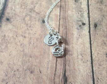 Tuba initial necklace - tuba jewelry, music instrument necklace, band jewelry, tuba player gift, silver tuba pendant, musician jewelry