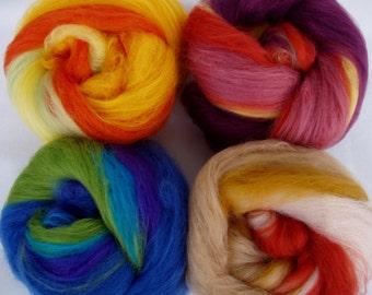 Set of 4 mini batts, merino batts, spinning fiber, felting wool, needle felting wool, carded wool, batt, batting, 3.5oz, 100g, 100% wool