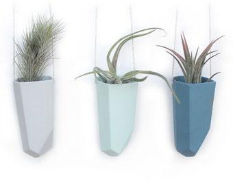 slip cast hanging crystal planter- skinny
