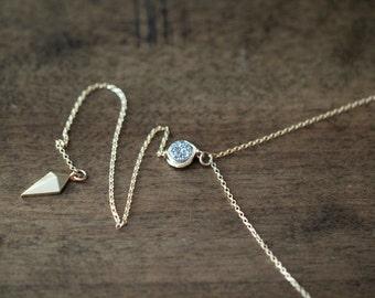 Druzy Lariat Layering Necklace , Y Drop Druzy Quartz Pendant , Gold Filled , Sterling Silver , Minimalist Modern Necklace