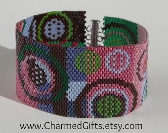 Geometric Patchwork Peyote Cuff Bracelet
