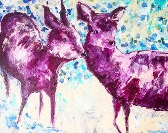 Deer Sisters, archival quality 12x12 wildlife print of original acrylic painting