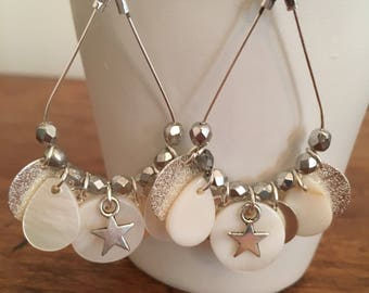 Silver earrings, Pearl and silver sequins