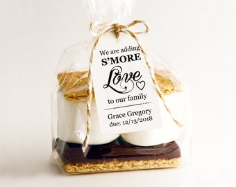 We Are Adding S'MORE Love To Our Family Tag Template, DIY Printable Custom Favor Tags, Gift Tags, Wedding Tags, Baby Shower Printables