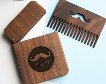 Personalised wooden beard gift set - Beard Comb - Moustache Gift for men - Gift boxes with lids - beard comb - hispter gift - grooming set