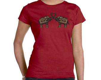 Plus Size Top,  Elephant t-shirt, Ethnic Tribal garnet red, Elephant Trunks Heart, Artsy T-shirt
