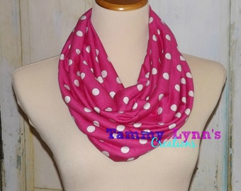 NEW!  Hot Pink with White Polka Dot Cotton Spandex Scarf Jersey Knit Infinity Scarf Women' Accessories