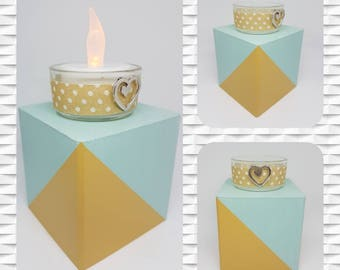 Square candle holder handmade recycled-chart-modern-geometry-decoration wood