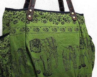 Women bag Handbags Thai Cotton bag Elephant bag Hippie bag Hobo bag Boho bag Shoulder bag Tote bag Diaper bag Everyday bag Purse Dark Green