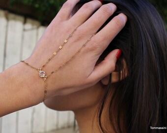 hand chain bracelet, Bracelet with ring, Finger Bracelet, hand finger bracelets, Dainty bracelet, Delicate Gold Bracelet, Slave Bracelet