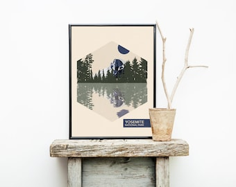 Yosemite National Park Poster - Travel Poster - National Park Travel Poster - Minimalist Poster – Stocking stuffer  - Christmas Gift