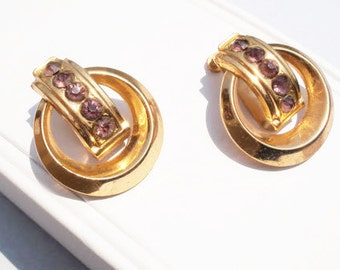Coro Earrings, Coro Vintage Earrings, Gold Coro Earrings, Clip On Earrings, Purple Rhinestone Earrings, Screw Back Earrings, Gold Earrings
