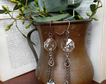 Repurposed Chandelier and Porcelain earrings with purple accent