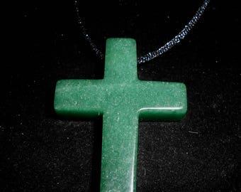Green ADVENTURINE CROSS PENDANT*Gem Quality*on 31 Inch Black Satin Cord*The Money Stone