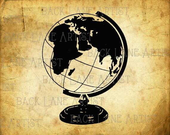 Line Art Earth : Vintage globe earth clipart lineart illustration instant