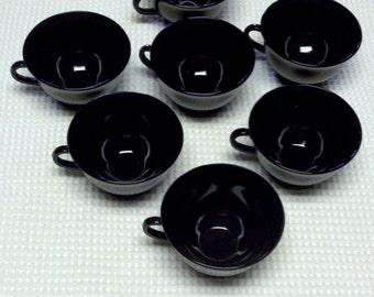 Vintage Black Amethyst Glass Cup, Art Deco Design, Circa 1920s, L.E. Smith Glass Co.