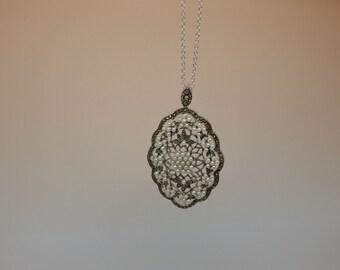 Art Deco Bridal Jewelry Necklace, Multistrand Pearl Necklace, Pearl Rhinestone Necklace, Pearl Necklace, Pearl Wedding Jewelry, Weddings