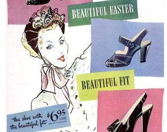 1946 Naturalizer Shoes and A&P Jane Parker Hot Cross Buns Ad Spring Millinery Floral Easter Decoration Vogue Fashion Illustration Pastel Art