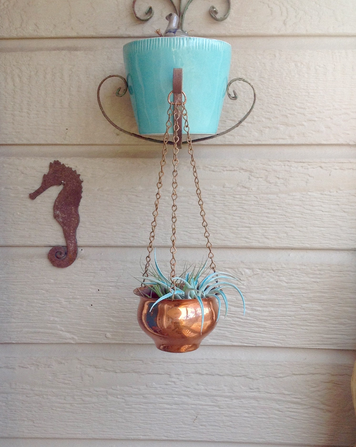 FREE SHIPPING Vintage Hanging Copper Pot w Chains Copper