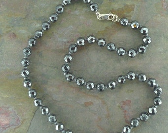 FACETED HEMATITE Stone Natural Gemstone Sterling Silver Necklace